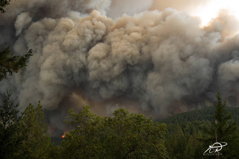 September 12, 2015 - Lake County, California,  Valley Fire as it races through Boggs Mountain State Forest, observed from Loch Lomond. (Kim Ringeisen / Polaris)