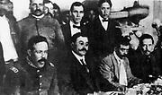 Seated, from left to right, Doroteo Arango Arambula (1878-1923) known as Pancho Villa, Mexican revolutionary general, Eulalio Gutíerrez (1881-1939) Mexican politician, President of Mexico 1914-1915, Emiliano Zapata (1879-1919) Mexican Revolotionary leader, and Felícitas Villareal. 1914 .
