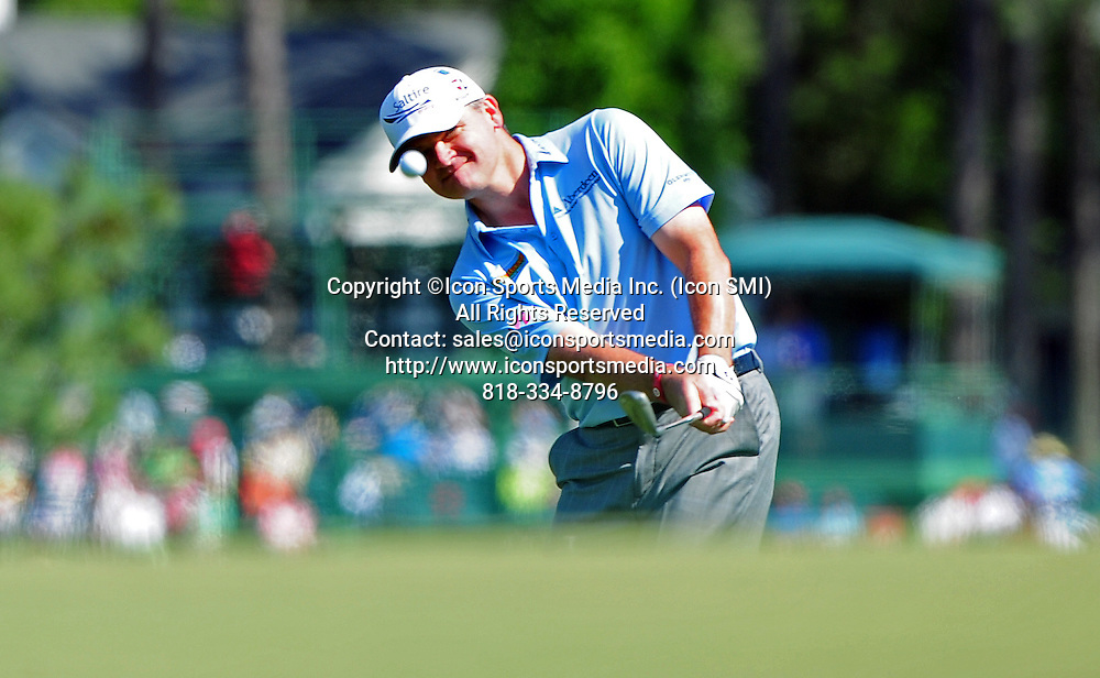 April 8, 2012 - Augusta, Georgia, U.S. - Paul Lawrie chips to the eighth green during Sunday's final round of the 2012 Masters Tournament at Augusta National Golf Club on April 8, 2012, in Augusta, Ga.