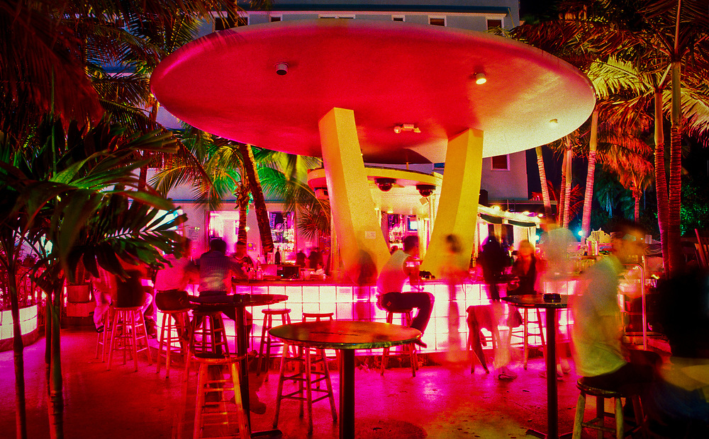 "A flying saucer-like bar at the Clevelander Hotel on Miami Beach's Ocean Drive. This spectacular structure embodies the space age flamboyance of the Miami Modern (""MiMo"") style of the 1950s and '60s."