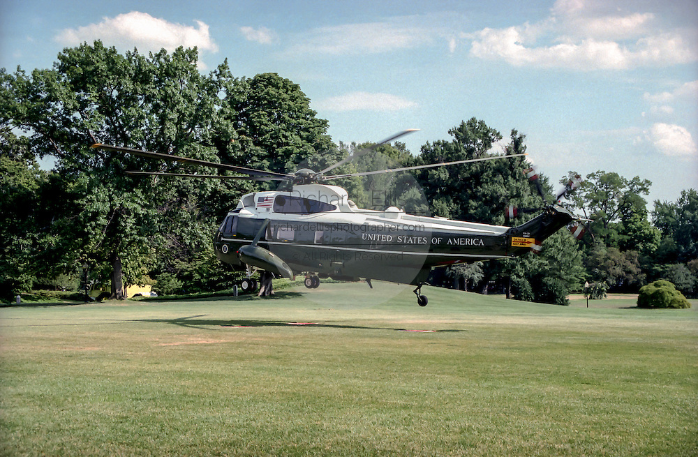 Marine One presidential helicopter lifts off from the South Lawn of the White House with the Clinton family August 19, 1999 in Washington, DC. The Clinton's are traveling to Martha's Vineyard for a vacation.