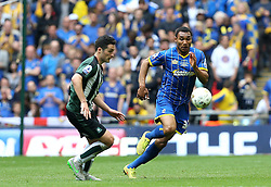 Darius Charles of AFC Wimbledon goes past Carl McHugh of Plymouth Argyle - Mandatory by-line: Robbie Stephenson/JMP - 30/05/2016 - FOOTBALL - Wembley Stadium - London, England - AFC Wimbledon v Plymouth Argyle - Sky Bet League Two Play-off Final
