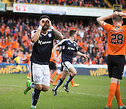 Dundee&rsquo;s Kane Hemmings celebrates after opening the scoring - Dundee United v Dundee in the Ladbrokes Premiership at Tannadice<br /> <br />  - &copy; David Young - www.davidyoungphoto.co.uk - email: davidyoungphoto@gmail.com