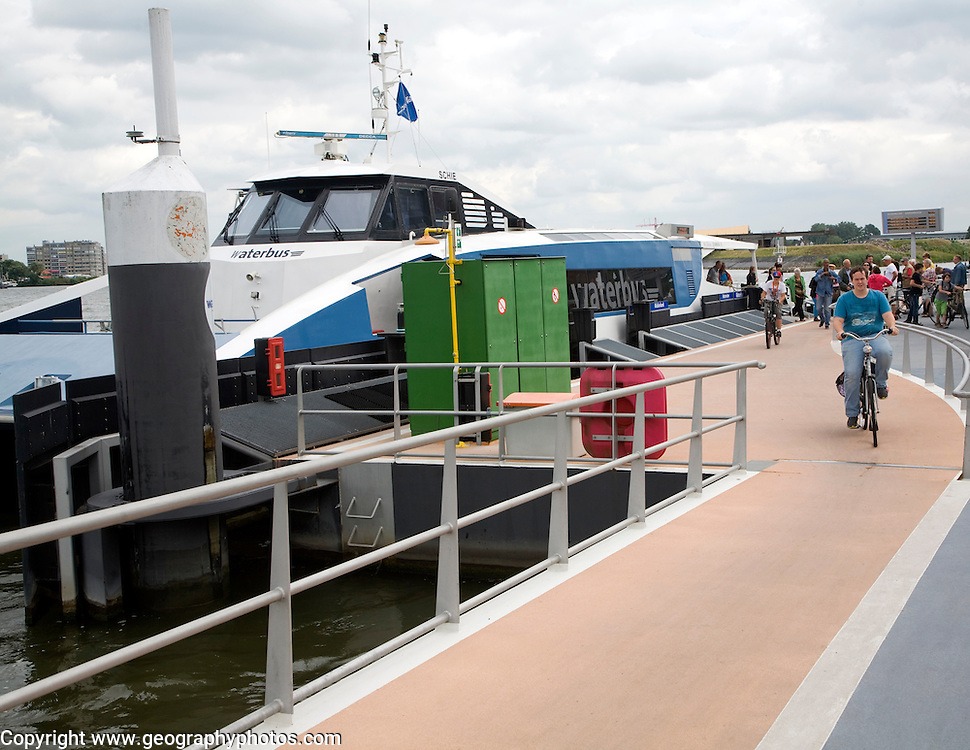 The Waterbus is a public transportation system on the River Maas linking Rotterdam to Dordrecht and with several smaller branch lines, South Holland, Netherlands. This is the station at Merwekade, Dordrecht.