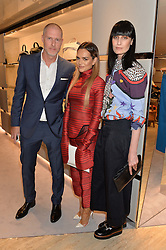 Left to right, JEAN-DAVID MALAT, MARIA HATZISTEFANIS and ERIN O'CONNOR at a dinner hosted by Tod's to celebrate the refurbishment of their store 2-5 Old Bond Street, London on 15th September 2016.