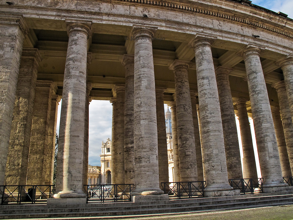 View of Bernini=s colonnade around St. Peter's Square, from outside the semicircle.