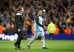 MANCHESTER, ENGLAND - Monday, April 30, 2012: Manchester City's Carlos Tevez after his side's 1-0 victory over Manchester United during the Premiership match at the City of Manchester Stadium. (Pic by David Rawcliffe/Propaganda)