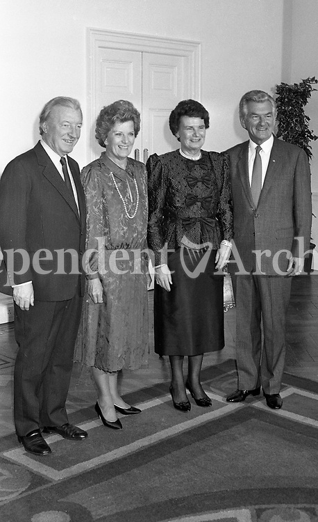 Australian Prime Minister Robert Hawke and his wife Hazel pictured with An Taoiseach Charles Haughey and Mrs Haughey in the Royal Hospital, Kilmainham, 19/10/1987 (Part of the Independent Newspapers Ireland/NLI Collection).