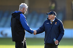 Bath Director of Rugby Todd Blackadder and Worcester Warriors Director of Rugby Alan Solomons shake hands prior to the match - Mandatory byline: Patrick Khachfe/JMP - 07966 386802 - 17/11/2018 - RUGBY UNION - The Recreation Ground - London, England - Bath Rugby v Worcester Warriors - Gallagher Premiership Rugby