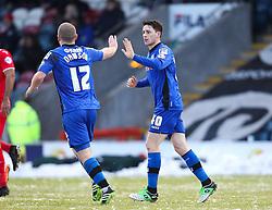 Ian Henderson and Rochdale's Stephen Dawson celebrate the opening goal - Photo mandatory by-line: Matt McNulty/JMP - Mobile: 07966 386802 - 17.01.2015 - SPORT - Football - Rochdale - Spotland Stadium - Rochdale v Crawley Town - Sky Bet League One