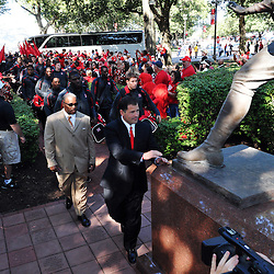 Sep 19, 2009; Piscataway, NJ, USA;  Rutgers head coach Greg Schiano leads his team on the Scarlet Walk before the kickoff of NCAA college football between Rutgers and Florida International at Rutgers Stadium.