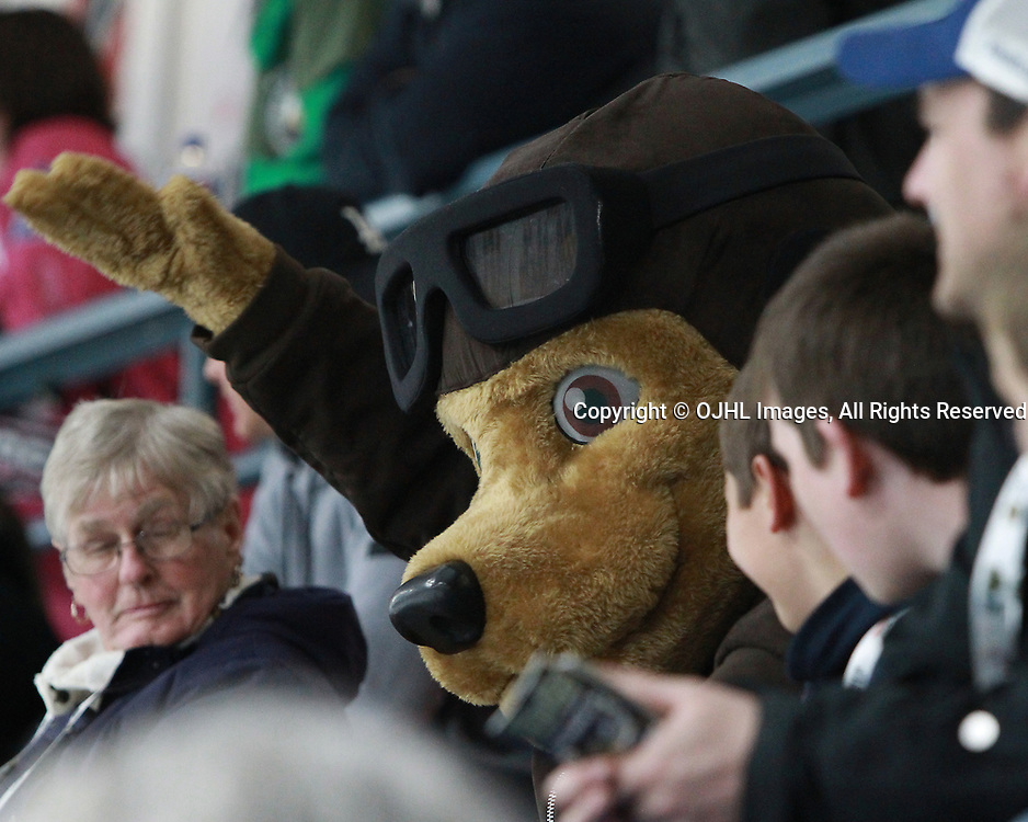TRENTON, ON  - MAY 5,  2017: Canadian Junior Hockey League, Central Canadian Jr. &quot;A&quot; Championship. The Dudley Hewitt Cup. Game 7 between Georgetown Raiders and the Powassan Voodoos. Trenton's Mascot makes and appearance during the third period.<br /> (Photo by Tim Bates / OJHL Images)