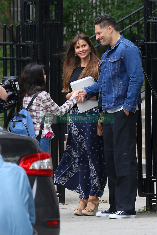 """Sofia Vergara and Joe Manganiello start filming together for the first time their upcoming movie project """"STANO"""" in Queens, NY . """"STANO"""" tells the story about a young rising star ball player ( Manganiello ) with the Yankees who lands himself in prison for a terrible accident. When Stano gets out of prison after 17 years of being behind bars and trying to stay alive, he returns to society and the love of his life ( Vergara ). 25 Jul 2017 Pictured: Sofia Vergara and Joe Manganiello. Photo credit: LRNYC / MEGA TheMegaAgency.com +1 888 505 6342"""