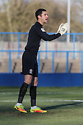AFC Wimbledon goalkeeper James Shea (1) during the The FA Cup match between Curzon Ashton and AFC Wimbledon at Tameside Stadium, Ashton Under Lyne, United Kingdom on 4 December 2016. Photo by Stuart Butcher.