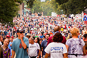 "03 SEPTEMBER 2011 - ST. PAUL, MN: The crowd walks through the Minnesota State Fair on Saturday September 3. The Minnesota State Fair is one of the largest state fairs in the United States. It's called ""the Great Minnesota Get Together"" and includes numerous agricultural exhibits, a vast midway with rides and games, horse shows and rodeos. Nearly two million people a year visit the fair, which is located in St. Paul.   PHOTO BY JACK KURTZ"