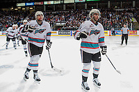KELOWNA, CANADA - APRIL 12: Tomas Soustal #15 and Dillon Dube #19 of Kelowna Rockets celebrate a goal against the Victoria Royals on April 12, 2016 at Prospera Place in Kelowna, British Columbia, Canada.  (Photo by Marissa Baecker/Shoot the Breeze)  *** Local Caption *** Dillon Dube; Tomas Soustal;