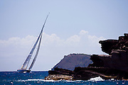 J Class Velsheda sailing the Cannon Race at the Antigua Classic Yacht Regatta.