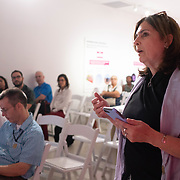 SEPTEMBER 27, 2017---MIAMI, FLORIDA---<br /> Audience member asks questions following architect Jorge Perez Jaramillo, from the Universidad de Santo Tom&aacute;s in Medellin, Colombia's  presentation.  This was part of the Miami Dade College series, By the People.<br /> (Photo by Angel Valentin/Freelance).