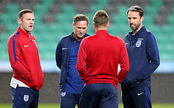 England interim manager Gareth Southgate talks to Wayne Rooney and Jamie Vardy of England on arrival at The SRC Stozice Stadium ahead of the World Cup Qualifier against Slovenia - Mandatory by-line: Robbie Stephenson/JMP - 10/10/2016 - FOOTBALL - SRC Stozice - Ljubljana, England - England Press Conference