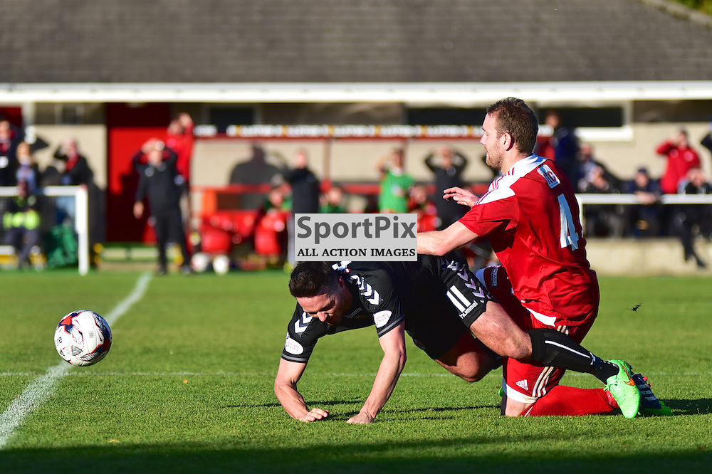 Clydes Sean Higgins challenged Garry Wood of Formartine