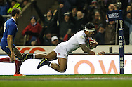 Picture by Andrew Tobin/Focus Images Ltd +44 7710 761829.23/02/2013. Manu Tuilagi of England goes over for his first try making the score 17-10 during the RBS 6 Nations match at Twickenham Stadium, Twickenham.