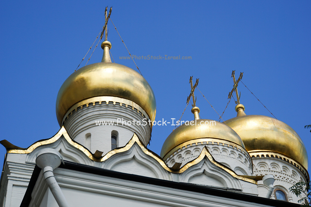 The gilded domes of the Cathedral of Annunciation, The Kremlin, Moscow, Russia
