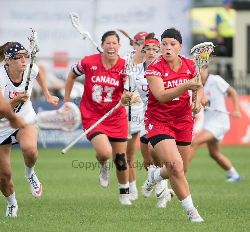 Canada's Kay Morissette leads the attack against the USA 2017 FIL Rathbones Women's Lacrosse World Cup at Surrey Sports Park, Guilford, Surrey, UK, 15th July 2017