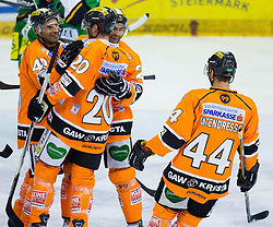 28.10.2012, Eisstadion Liebenau, Graz, AUT, EBEL, Graz 99ers vs HDD Olimpija Ljubljana, 16. Runde, im Bild Torjubel der 99ers, Olivier Latendresse, (Graz 99ers, #44), Thomas Vanek, (Graz 99ers, #20), Ryan Lannon, (Graz 99ers,42) // during the Erste Bank Icehockey League 16th Round match betweeen Graz 99ers and HDD Olimpija Ljubljana at the Icehockey Stadium Liebenau, Graz, Austria on 2012/10/28. EXPA Pictures © 2012, PhotoCredit: EXPA/ M. Kuhnke