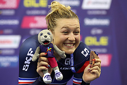France's Mathilde Gros with her Silver Medal on the podium for the Womens Sprint Final during day four of the 2018 European Championships at the Sir Chris Hoy Velodrome, Glasgow. PRESS ASSOCIATION Photo. Picture date: Sunday August 5, 2018. See PA story CYCLING European. Photo credit should read: Jane Barlow/PA Wire. RESTRICTIONS: Editorial use only, no commercial use without prior permission