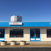 Holiday Diner, Norfolk, UK. Blue sky, Blue building, 1950's, Architecture, Exterior