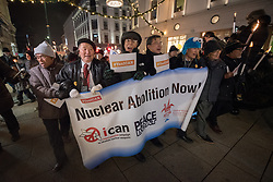 "10 December 2017, Oslo, Norway: In the evening of 10 December some 4,000 people from around the world gathered in central Oslo for a torch light march for peace. The event took place after the Nobel Peace Prize award 2017, awarded to the International Campaign to Abolish Nuclear Weapons (ICAN), for ""its work to draw attention to the catastrophic humanitarian consequences of any use of nuclear weapons and for its ground-breaking efforts to achieve a treaty-based prohibition of such weapons"". Among the crowd were more than 20 ""Hibakusha"", survivors of the atomic bombings in Hiroshima and Nagasaki, as well as a range of activists, faith-based organizations and others who work or support work for peace, in one or another way. Here, a group of Hibakusha."