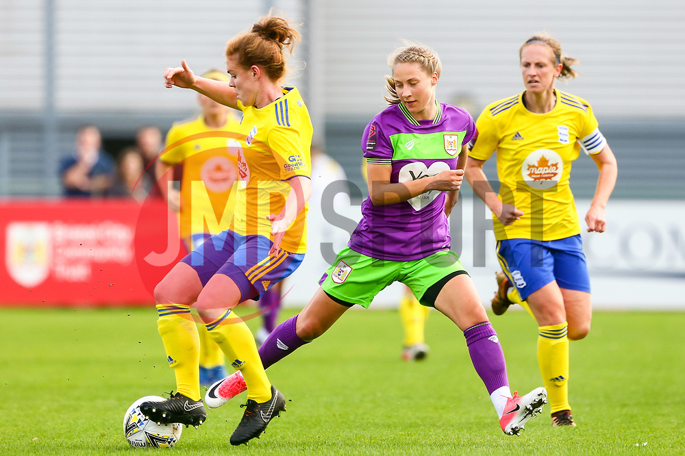 Juliette Kemppi of Bristol City challenges Aoife Mannion of Birmingham City Women - Mandatory by-line: Ryan Hiscott/JMP - 14/10/2018 - FOOTBALL - Stoke Gifford Stadium - Bristol, England - Bristol City Women v Birmingham City Women - FA Women's Super League 1