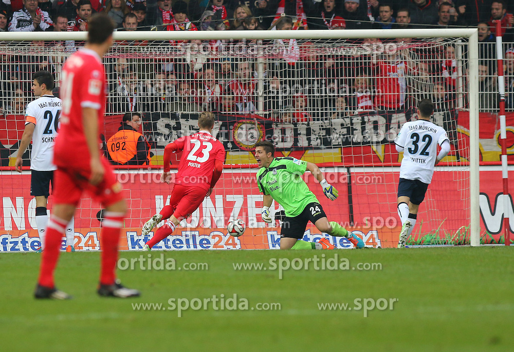 22.11.2014, Alte F&ouml;rsterei, Berlin, GER, 2. FBL, 1. FC Union Berlin vs TSV 1860 Muenchen, 14. Runde, im Bild TW Stefan Ortega (TSV 1860 Muenchen) muss den Anschlusstreffer zum 1:4 hinnehmen // SPO during the 2nd German Bundesliga 14th round match between 1. FC Union Berlin and TSV 1860 Muenchen at the Alte F&ouml;rsterei in Berlin, Germany on 2014/11/22. EXPA Pictures &copy; 2014, PhotoCredit: EXPA/ Eibner-Pressefoto/ Hundt<br /> <br /> *****ATTENTION - OUT of GER*****