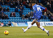 Gillingham forward Dominic Samuel slots one passed Barnsley goalkeeper Adam Davies t put Gillingham ahead during the Sky Bet League 1 match between Gillingham and Barnsley at the MEMS Priestfield Stadium, Gillingham, England on 13 February 2016. Photo by Andy Walter.