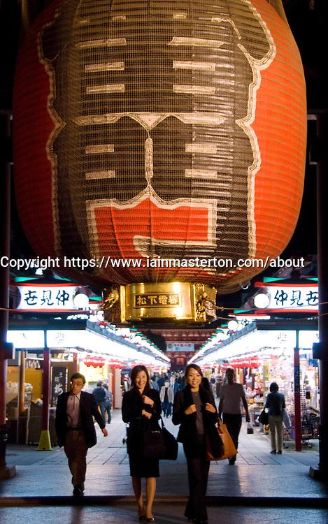 Large red lantern at Senso Ji temple in Asakusa Tokyo Japan