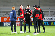 Brentford players arrive at the Pirelli Stadium during the EFL Sky Bet Championship match between Burton Albion and Brentford at the Pirelli Stadium, Burton upon Trent, England on 6 March 2018. Picture by John Potts.