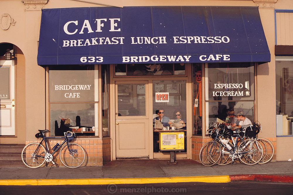 Sausalito, California. Breakfast at the Bridgeway Café.