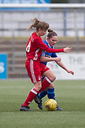 Frminton's Danni McGinley battles for the ball with with Aberdeen's Chloe Gover - Forfar Farmington v Aberdeen in the Scottish Womens' Premier League Cup round one at Station Park, Forfar<br /> <br />  - &copy; David Young - www.davidyoungphoto.co.uk - email: davidyoungphoto@gmail.com