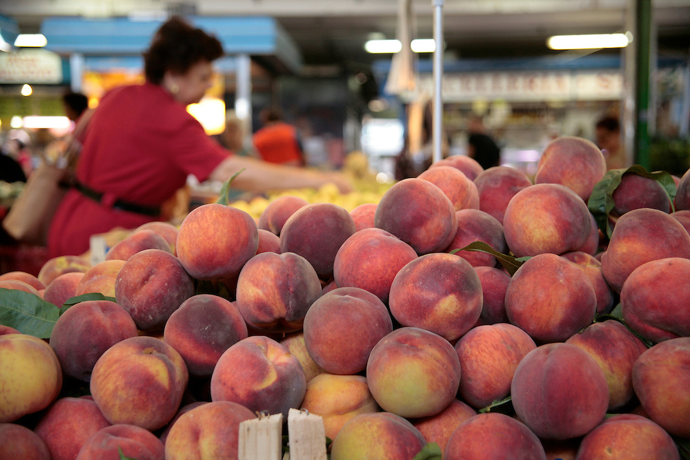 Peaches in Testaccio Market, Rome, Frommer's Italy Day By Day