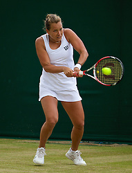 30.06.2014, All England Lawn Tennis Club, London, ENG, WTA Tour, Wimbledon, im Bild Barbora Zahlavova Strycova (CZE) during the Ladies' Singles 4th Round match on day seven // 15065000 during the Wimbledon Championships at the All England Lawn Tennis Club in London, Great Britain on 2014/06/30. EXPA Pictures © 2014, PhotoCredit: EXPA/ Propagandaphoto/ David Rawcliffe<br /> <br /> *****ATTENTION - OUT of ENG, GBR*****