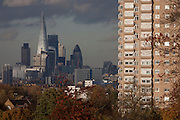 The capital rises in the background with a tower block from Brockwell Park in Herne Hill, Lambeth SE24 south London.
