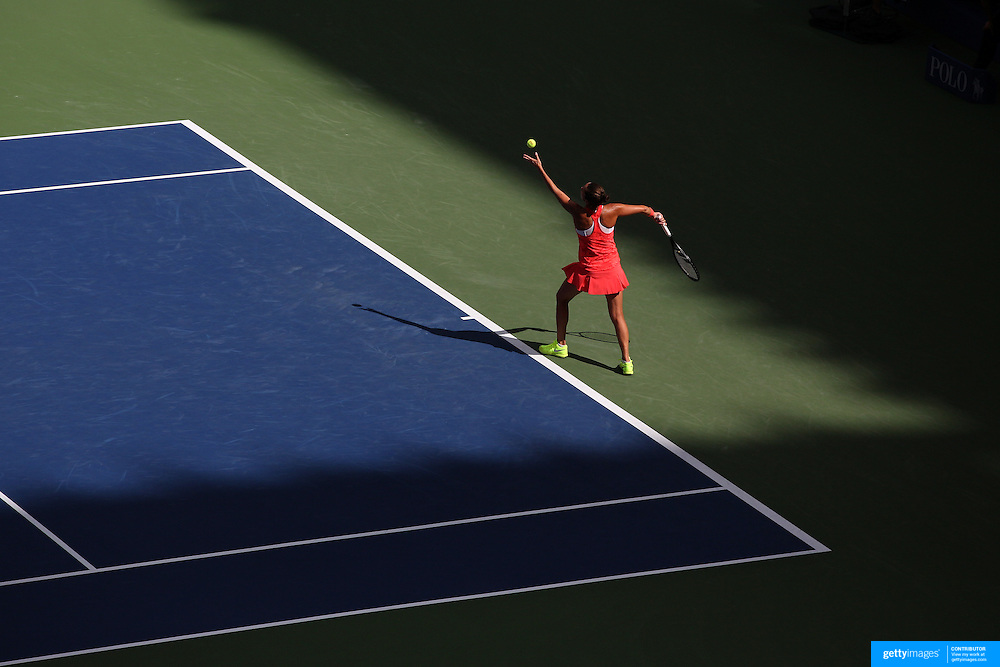 Roberta Vinci, Italy, in action against Serena Williams, USA, in the Women's Singles Semifinals during the US Open Tennis Tournament, Flushing, New York, USA. 11th September 2015. Photo Tim Clayton