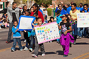 16 JANUARY 2012 - MESA, AZ:  People in the parade on Martin Luther King Day in Mesa, AZ, Monday, Jan. 16. Hundreds of people participated in the parade which marched through downtown Mesa.   PHOTO BY JACK KURTZ