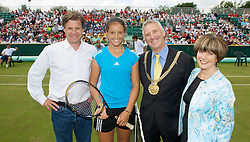 LIVERPOOL, ENGLAND - Tuesday, June 16, 2009: Tournament Director Anders Borg and Laura Robson (GBR) with the Lord Mayor of Liverpool Mike Storey and his wife during a kids day at the Tradition ICAP Liverpool International Tennis Tournament 2009 at Calderstones Park. (Pic by David Rawcliffe/Propaganda)