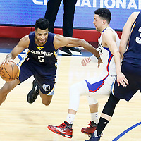 04 January 2017: Memphis Grizzlies guard Andrew Harrison (5) drives past LA Clippers guard Austin Rivers (25) on a screen set by Memphis Grizzlies center Marc Gasol (33) during the LA Clippers 115-106 victory over the Memphis Grizzlies, at the Staples Center, Los Angeles, California, USA.