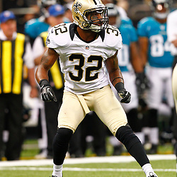 August 17, 2012; New Orleans, LA, USA; New Orleans Saints cornerback Johnny Patrick (32) against the Jacksonville Jaguars during the first half of a preseason game at the Mercedes-Benz Superdome. Mandatory Credit: Derick E. Hingle-US PRESSWIRE