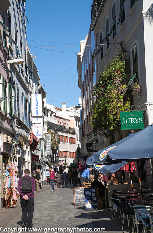 Shops and cafes in Main Street, Gibraltar, British terroritory in southern Europe