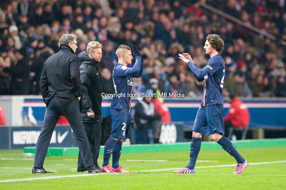 Laurent Blanc / Marco Verratti / Adrien Rabiot - 30.01.2015 - PSG / Rennes - 23eme journee de Ligue 1<br />Photo : Andre Ferreira / Icon Sport