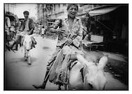 Boys riding donkeys through Varanasi.