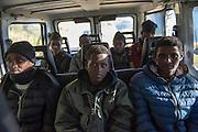 November 8, 2016,  Breil-sur-Roya, French Alpes, France. Eritrean refugees in a van to be transported over the mountains to a safe train station. By doing so the driver, Sylvain, , 67 years, a retired school teacher, risks police arrests and a trial.<br /> <br /> 8 novembre 2016, Breil-sur-Roya, Alpes fran&ccedil;aises, France. Des r&eacute;fugi&eacute;s &eacute;rythr&eacute;ens dans une camionnette pour &ecirc;tre transport&eacute;s &agrave; travers la montagne vers une gare jug&eacute;e s&ucirc;re. Ce faisant, le conducteur, Sylvain, 67 ans, prof de math &agrave; la retraite, risque d'&ecirc;tre arr&ecirc;t&eacute; et jug&eacute;.